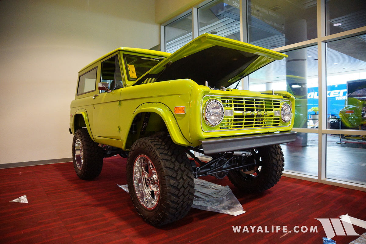 Hagar S Auto Clic Kustom Shack Made This Very Clean Lime Green Early Bronco Riding On A Set Of Coil Overs