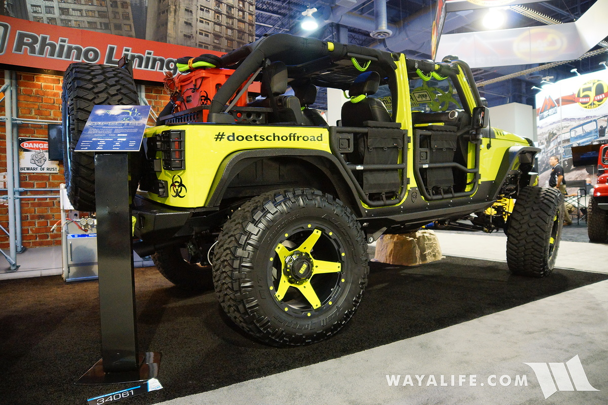 2016 sema rhino liner infected jeep jk wrangler unlimited for Rhino liner jeep exterior cost