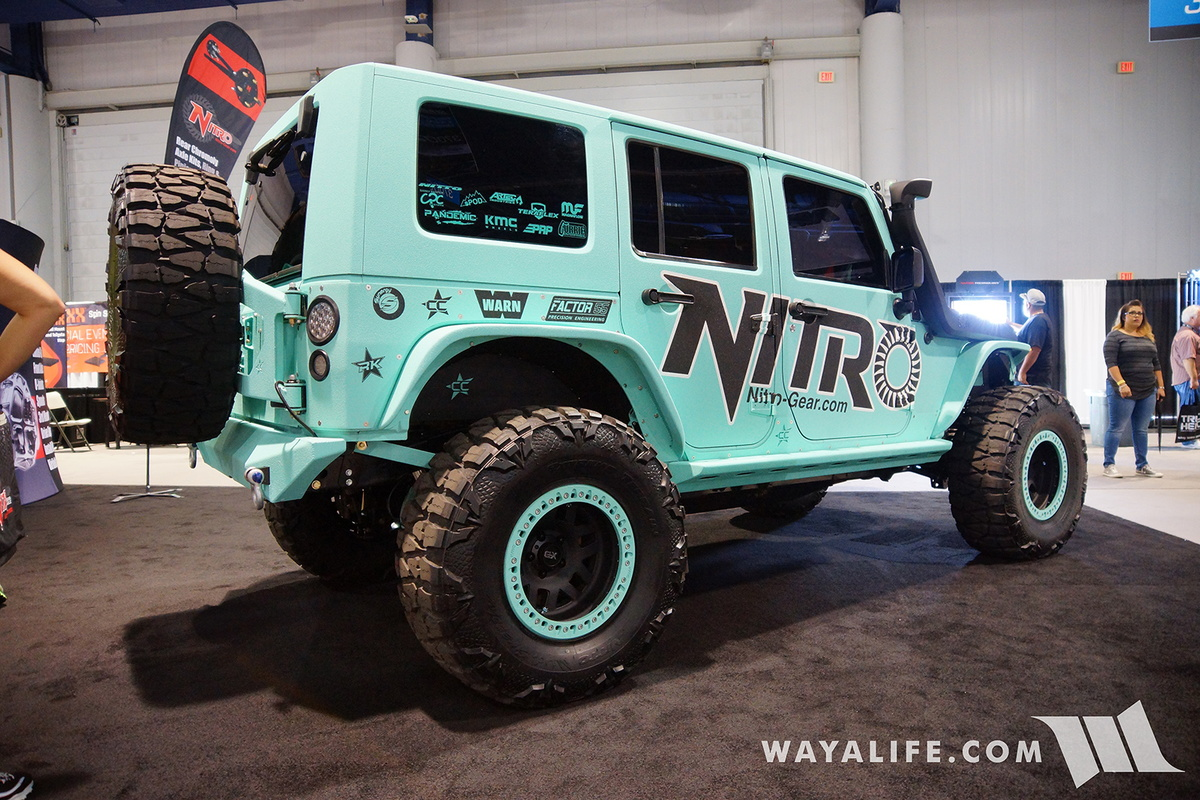 i will say that this jeep jk wrangler that nitro gear brought out to the 2016 sema show was about the most different color on a jeep i ve seen to date