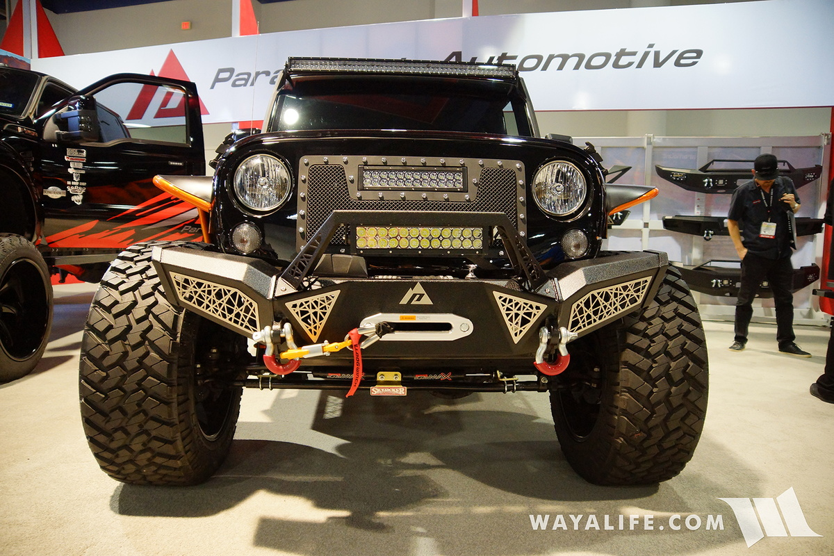 Here s a jeep jk wrangler that was brought out to the 2016 sema show by paramount and if you re interested the parts you see on it is all from them