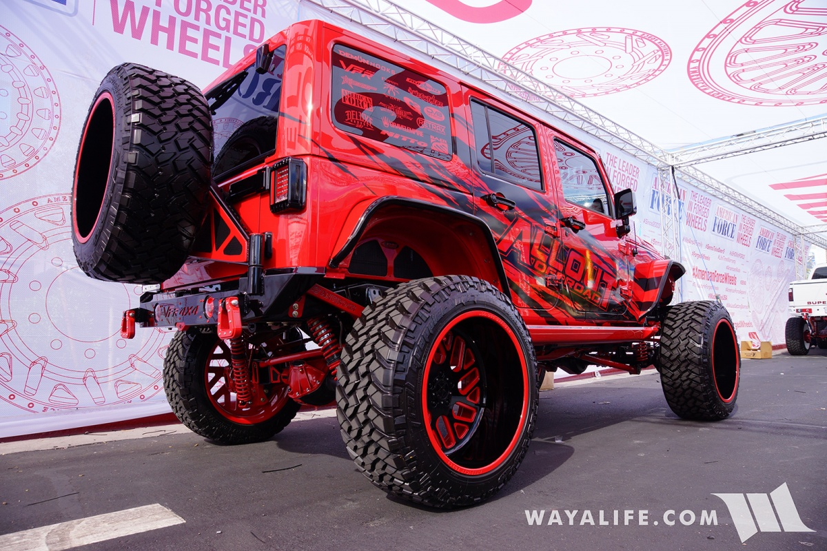 Jeep Wrangler Renegade >> 2017 SEMA American Force Wheels / AllOut OffRoad Red Jeep JK Wrangler Unlimited