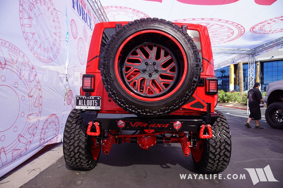 Jeep Wrangler Unlimited Grill >> 2017 SEMA American Force Wheels / AllOut OffRoad Red Jeep JK Wrangler Unlimited