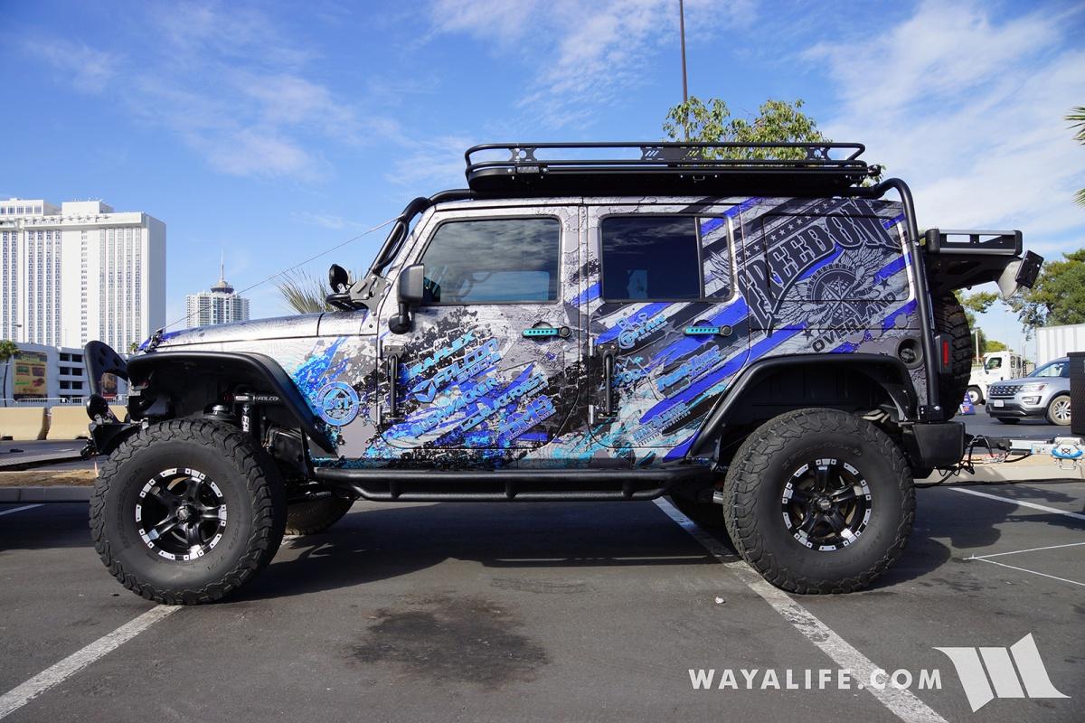 2017 sema freedom overland blue jeep jk wrangler unlimited trailer. Black Bedroom Furniture Sets. Home Design Ideas