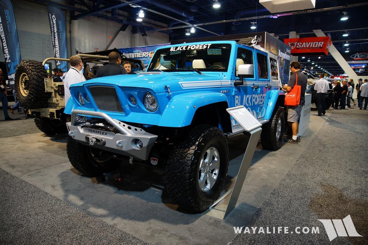 Jeep Wrangler Renegade >> 2017 SEMA Black Forest Blue Jeep JK Wrangler Unlimited Gladiator