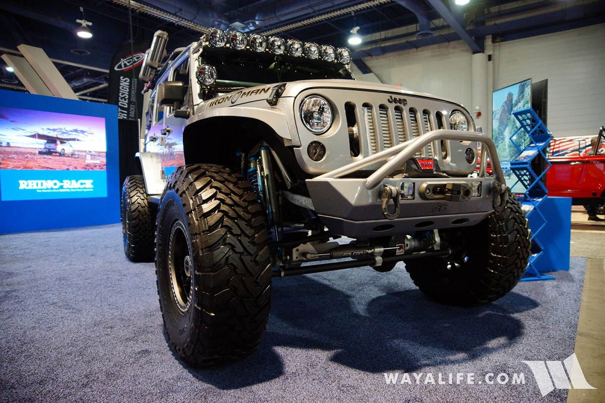 2017 Sema Rhino Rack Ironman Jeep Jk Wrangler Unlimited Accessories Adorned With Their It Also Had A Semi Double Throw Down System As In Bypass Shocks Up Front Only And Was Running Teraflex Axles