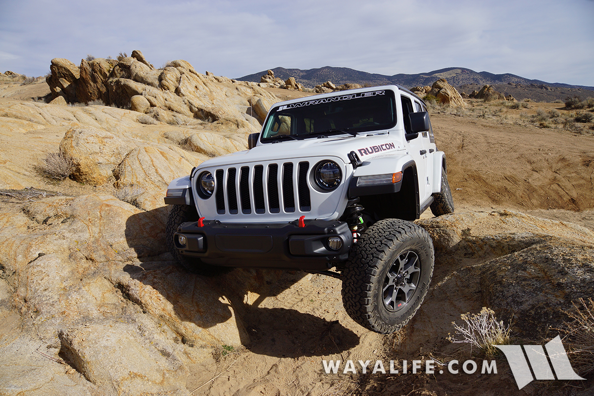 stock JL Wrangler Rubicon flexing